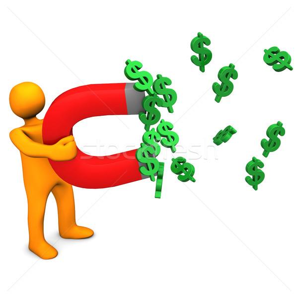 Dollár mágnes narancs rajzfilmfigura dollár szimbólumok Stock fotó © limbi007