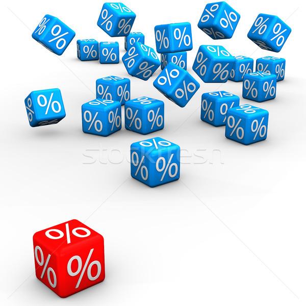 Vásár kék piros kockák fehér 3d illusztráció Stock fotó © limbi007