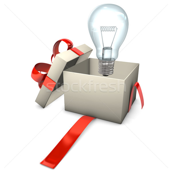 Cadeau ampoule boîte blanche école Photo stock © limbi007