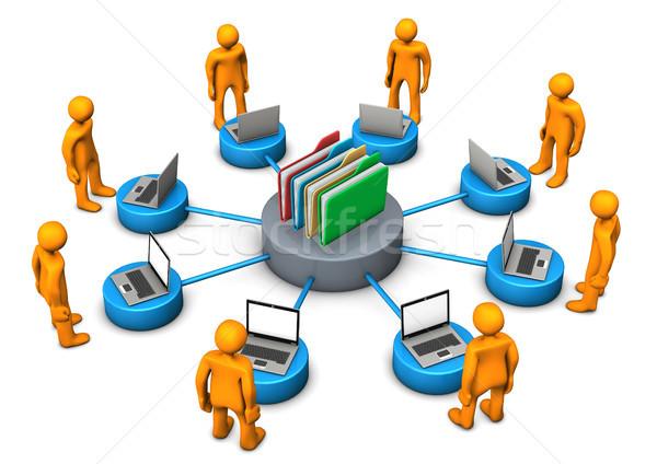 Online archief oranje laptops witte Stockfoto © limbi007