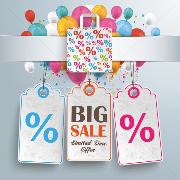 Banner Percentage Shopping Bag Balloons Price Stickers Stock photo © limbi007