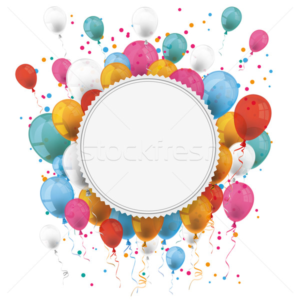 Foto stock: Branco · papel · emblema · balões · confete
