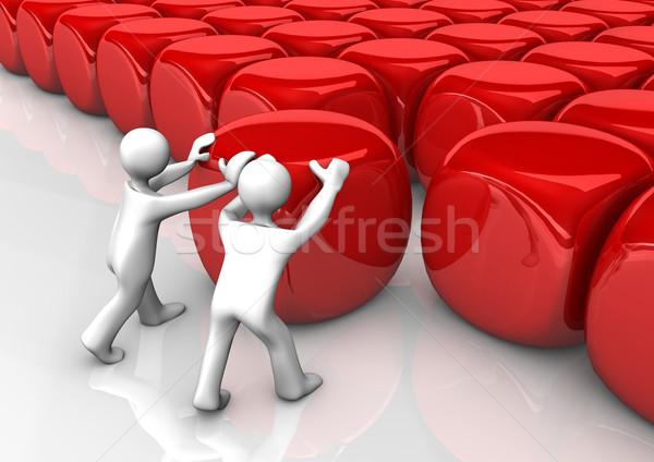 Integratie twee Rood witte 3d illustration Stockfoto © limbi007