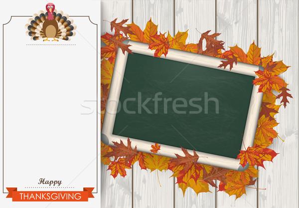 Stock photo: Oblong Banner Foliage Thanksgiving Turkey Blackboard