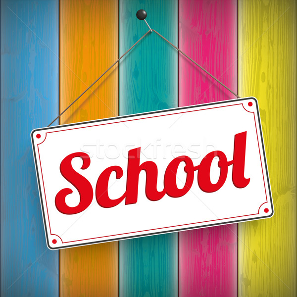 Sign School Wooden Background Stock photo © limbi007