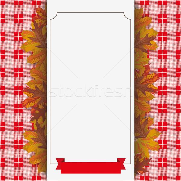 Autumn Foliage Checked Blanket Paper Banner Ribbon Stock photo © limbi007