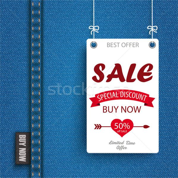 Jeans White Hanging Board Sale Stock photo © limbi007