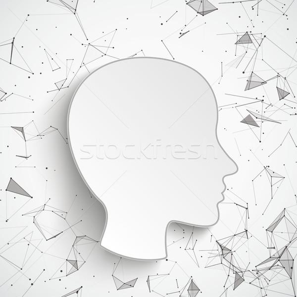 Human Head Neural Network Connected Dots Stock photo © limbi007