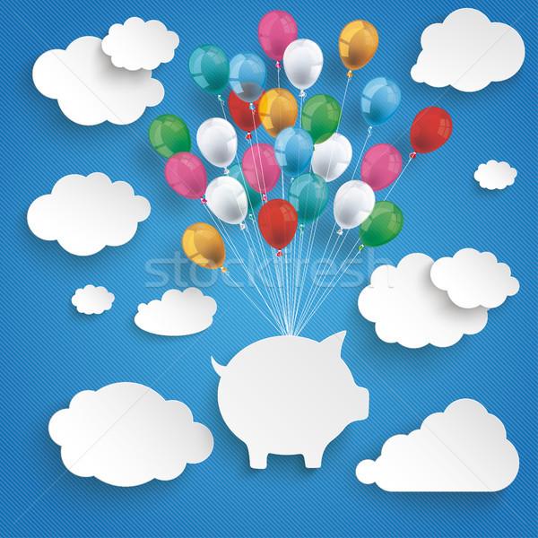 Paper Clouds Striped Blue Sky Balloons Piggy Bank Stock photo © limbi007