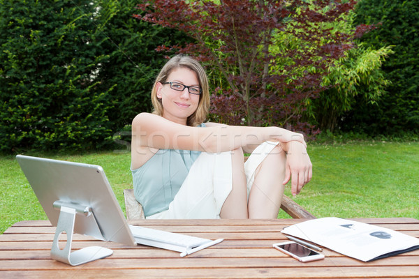 Businesswoman Home Office In The Garden Stock photo © limbi007
