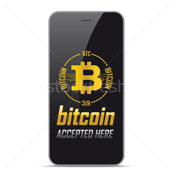 Black Smartphone Bitcoin Accepted Here Stock photo © limbi007