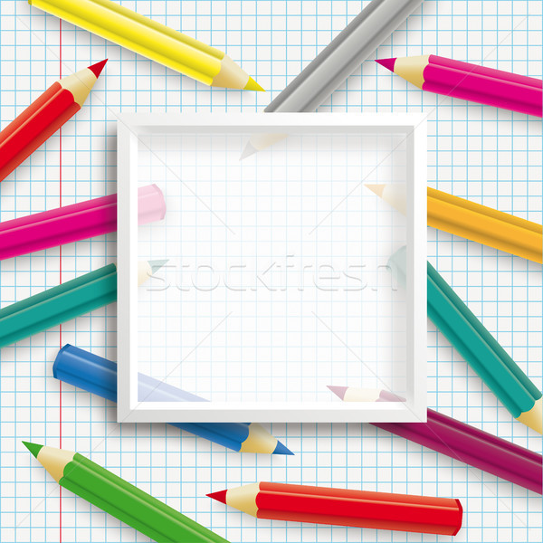 Colored Pencils White Frame Transparent Checked Paper Stock photo © limbi007