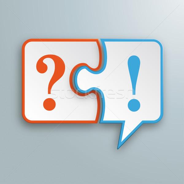 Kâğıt konuşma balonu bilmece soru ünlem işareti beyaz Stok fotoğraf © limbi007