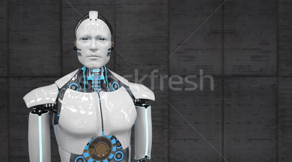 Biały robot humanoid konkretnych powrót 3d ilustracji Zdjęcia stock © limbi007