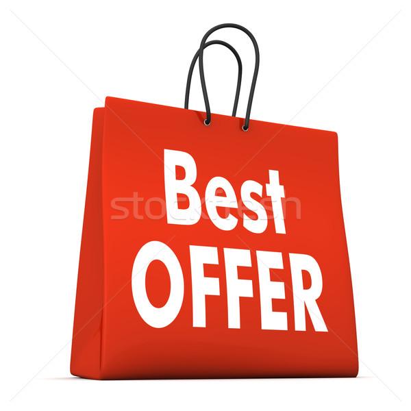 Bolsa de compras o melhor oferecer vermelho texto branco Foto stock © limbi007