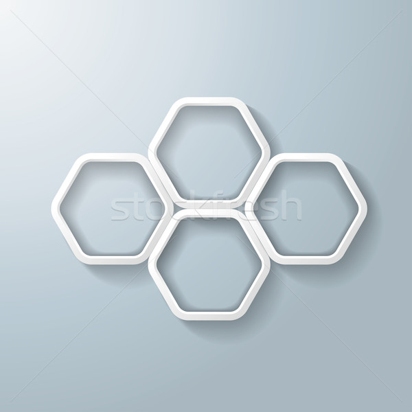 Cuatro blanco hexágono anillos infografía oscuridad Foto stock © limbi007
