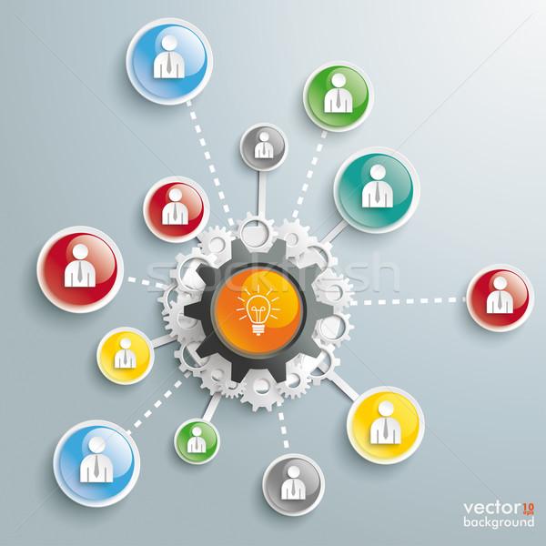 Bulb Brainstorming Businessmen Glossy Buttons Stock photo © limbi007