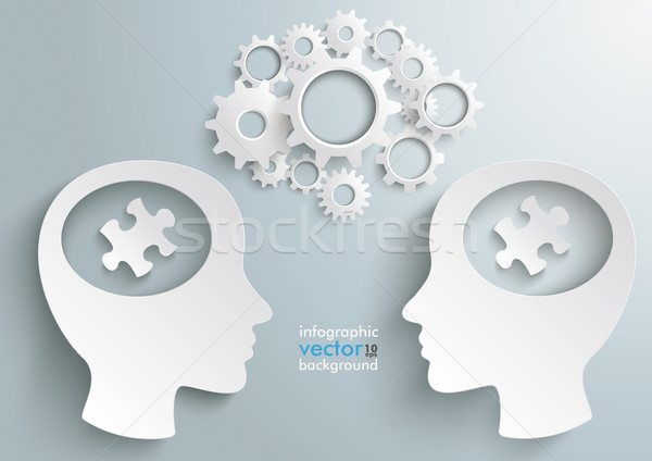 Two Heads With Hole Gears With Pieces Stock photo © limbi007