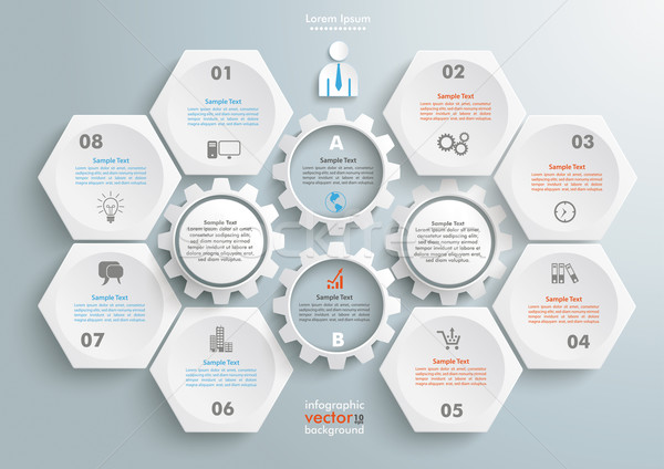 6 Hexagons 4 Gears Infographic Stock photo © limbi007