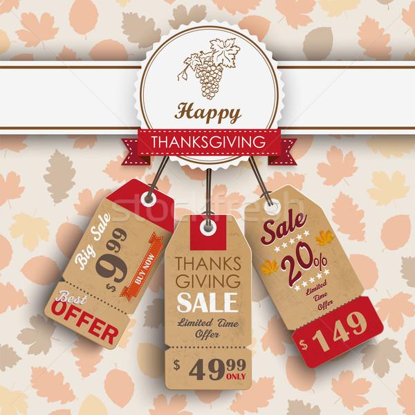 3 Price StickersFoliage Thanksgiving Emblem Stock photo © limbi007