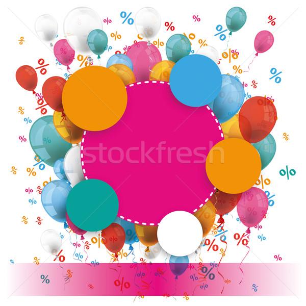Colored Paper Circles Balloons Percents Banner Stock photo © limbi007