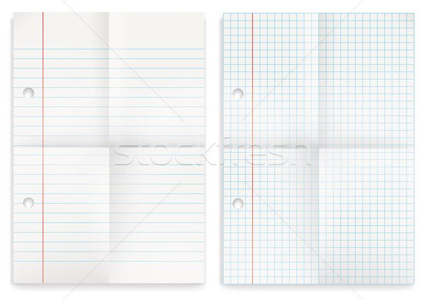 2 Papers Set Squared Feint Ruled Folded Stock photo © limbi007