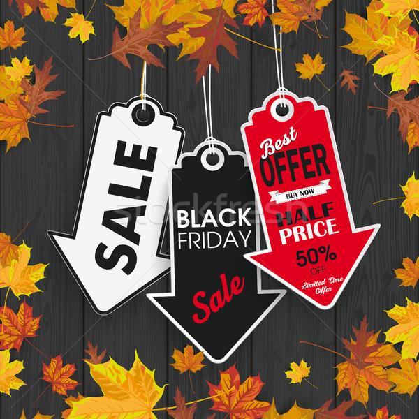 Autumn Foliage Black Wood 3 Arrow Price Stickers Black Friday Stock photo © limbi007