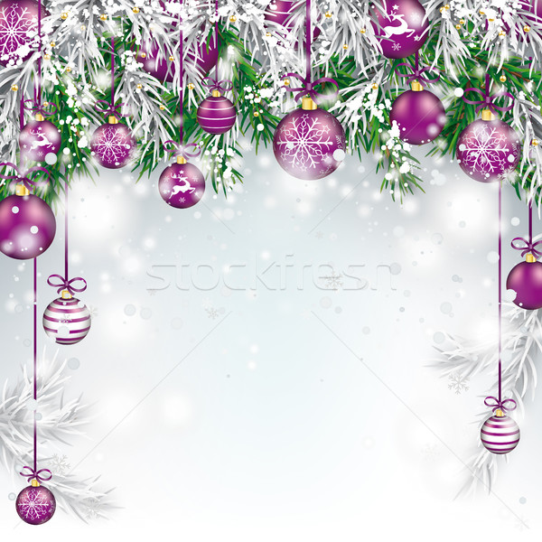 Christmas  Frozen Green Fir Twigs Purple Baubles Stock photo © limbi007