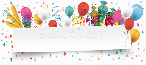бумаги баннер шаров письма конфеты белый Сток-фото © limbi007
