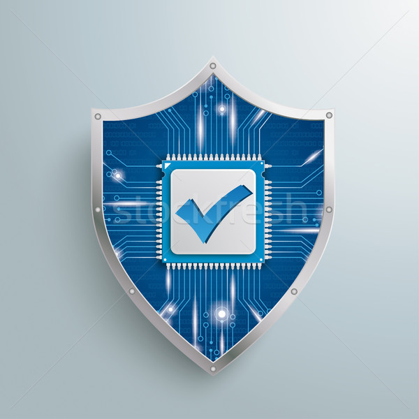 Digital Protection Shield Microchip Check Stock photo © limbi007