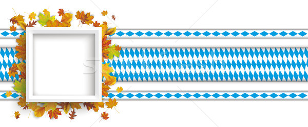 White Frame Autumn Foliage Bavarian Ribbons Header Stock photo © limbi007