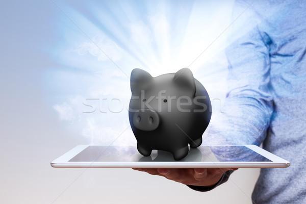 Siyah kumbara adam el göstermek Stok fotoğraf © limbi007