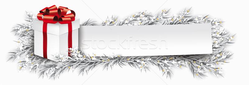 бумаги баннер Рождества подарок заморожены ель Сток-фото © limbi007