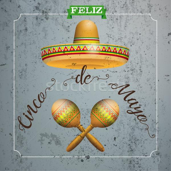 Sombrero Cinco De Mayo Concrete Frame Maracas Stock photo © limbi007