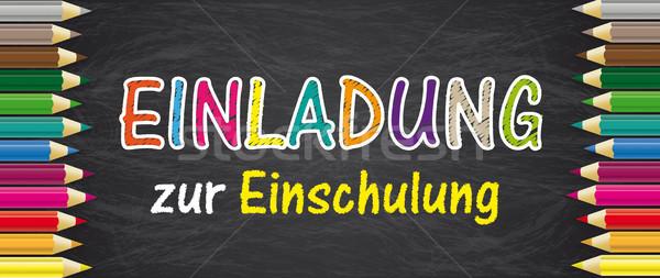 Blackboard Colored Pencils Einladung zur Einschulung Stock photo © limbi007