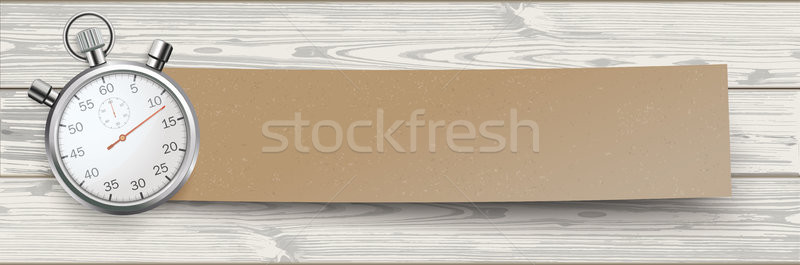 Cardboard Paper Banner Stopwatch White Wood Stock photo © limbi007