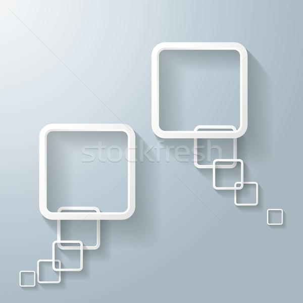 Iki soyut beyaz dikdörtgen konuşma balonu Stok fotoğraf © limbi007