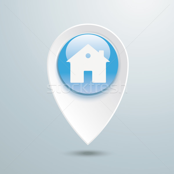 Location Marker House Blue Button Stock photo © limbi007