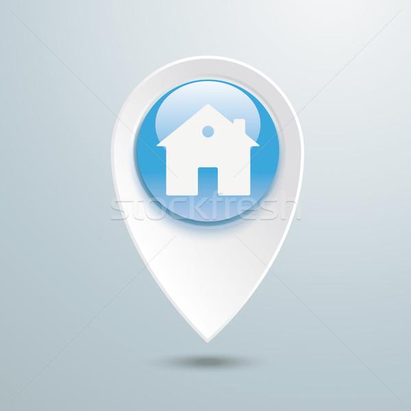 Plaats fiche huis Blauw knop grijs Stockfoto © limbi007