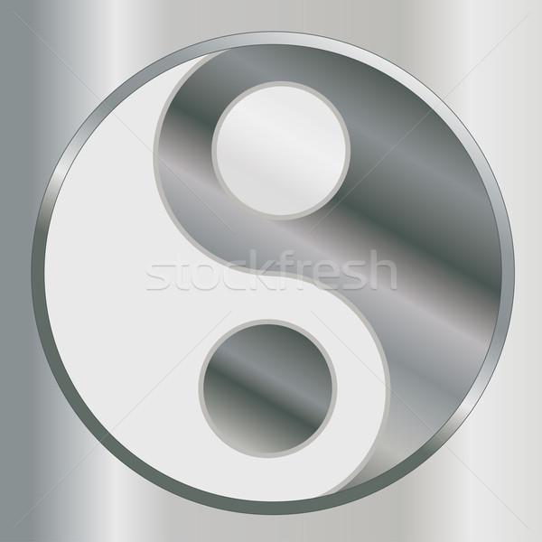 Yin yang felirat női Ázsia vallás meditáció Stock fotó © limbi007