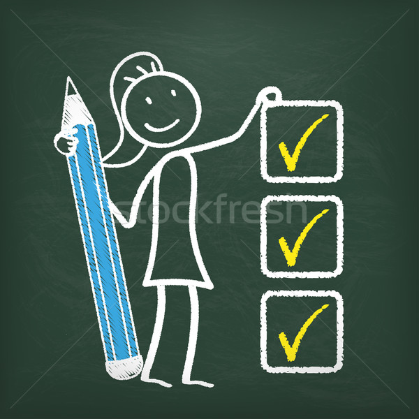 Blackboard Stickwoman Checklist  Stock photo © limbi007