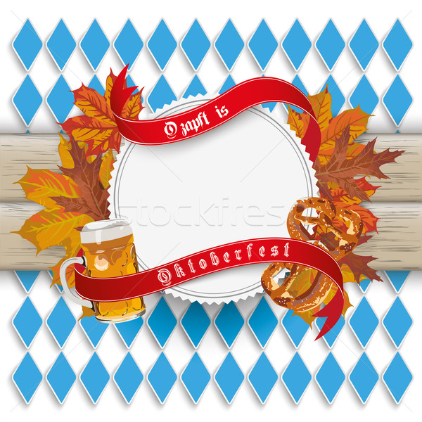 Oktoberfest Emblem Foliage Wood Bavarian Stock photo © limbi007