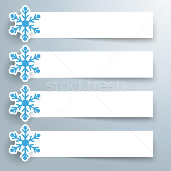Papier sneeuwvlok banners sneeuwvlokken grijs eps Stockfoto © limbi007