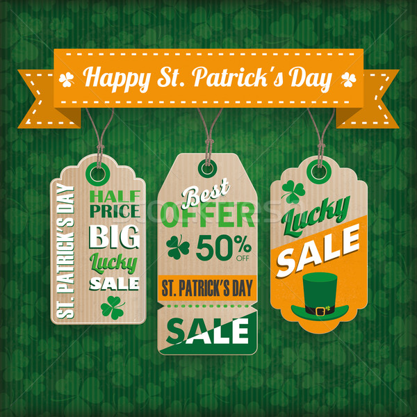 St. Patricks Day Vintage Ribbon 3 Price Stickers Stock photo © limbi007