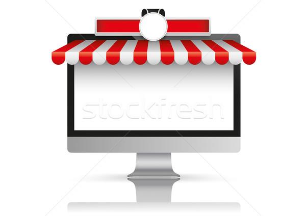 Black PC Monitor Red White Awning Emblem Stock photo © limbi007