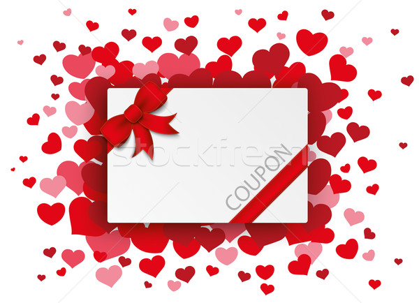 Piros szívek szalag utalvány kártya vörös szalag Stock fotó © limbi007