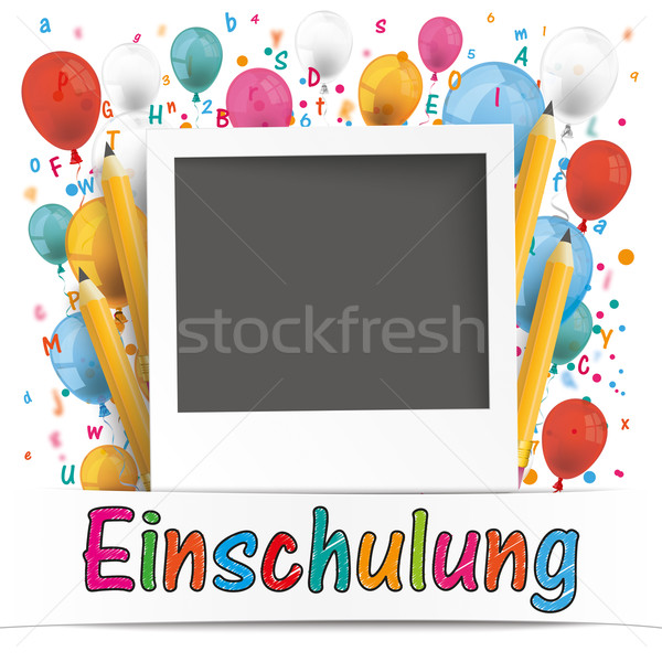 Banner Balloons Letters Photo Einschulung Stock photo © limbi007