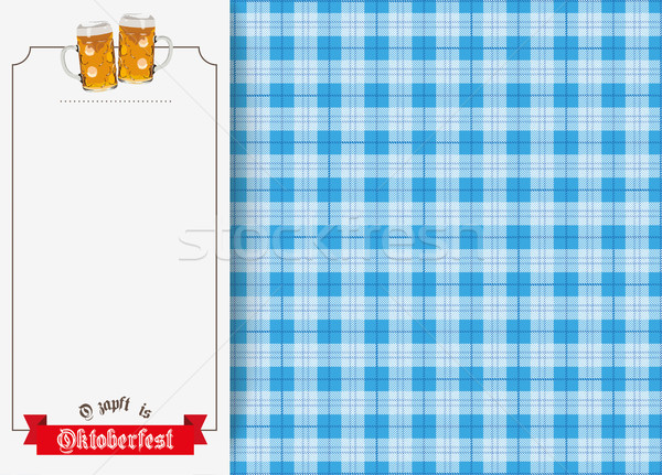 Oktoberfest Oblong Banner Beer Ribbon Checked Blanket Stock photo © limbi007