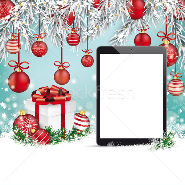 Christmas Red Baubles Frozen Twigs Snow Tablet Stock photo © limbi007