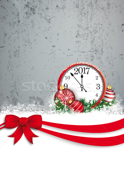 Upright Christmas Red Ribbon Oblong Flyer Concrete Stock photo © limbi007